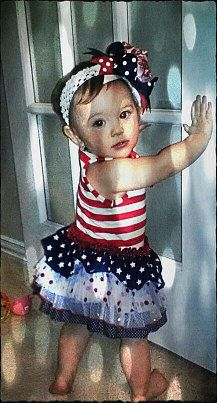 Hairbow 4th of July Girl Spikey Layered by sassylilprincesses, $6.99