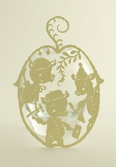 Three Little Pigs papercut: from Elsa Mora