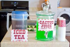 Cactus Juice: lemonade & Sprite mixed together with a few drops of green food coloring.  Great for a Wild West birthday party.