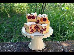 PRAJITURA PUFOASA (cu cirese, visine sau alte fructe) | Gina Bradea - YouTube Romanian Desserts, Romanian Food, No Cook Desserts, Banana Pudding, Food Cakes, Waffles, Cake Recipes, Sweets, Meals