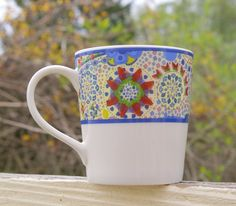 Starbucks Coffee Company 2007 11oz Mug Blue Strawberry Flower Raspberry Berries  | eBay