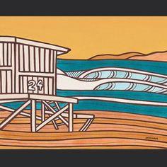 Newport Beach CA - mixed media - surf art by Joe Vickers