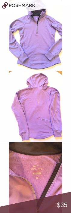 Light purple Nike Dri fit hoodie S light purple nike hoodie with reflective strips, thumb holes, and a pocket on the back. Perfect for running in colder weather. Excellent condition!! Nike Tops Sweatshirts & Hoodies