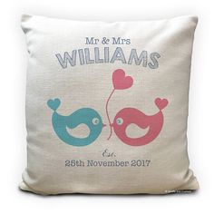 Love Birds Wedding Cushion Cover Pillow Cover Personalised. The perfect gift for the happy couple on their wedding day or as an anniversary present.Personalised with your choice of surname and date. Made from heavy linen textured polyester material. Hard wearing and washable.