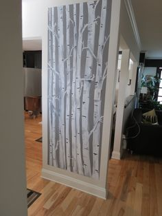 birch trees for accent wall in bedroom