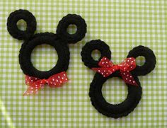 Mickey mouse - Could be a pin.  My thought would be to make them full in the center and become a kitchen scrubbie.