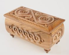 Wooden jewelry box Wooden box carved Handmade Small wooden box Wedding box carving Wood box Wooden c