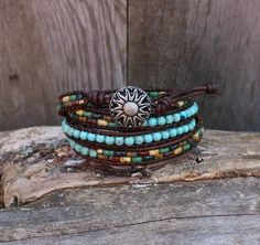 Seed Bead Leather Wrap Bracelet, Four Wrap Seed Bead Bracelet, Turquoise, Leather Wrap Bracelet, Boho, Wrap Bracelet, Picasso Beads, D13 by hodgepodgecandles on Etsy