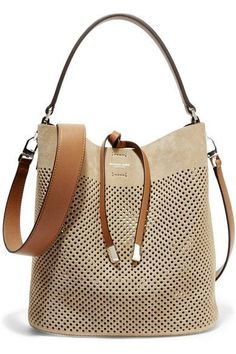 Michael Kors Collection | Miranda medium perforated suede and leather  shoulder bag | http:/