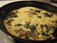 Vegetable Frittata: Frittatas are the perfect weeknight meal. Preheat oven to 375. In a large oven-safe skillet over medium-high heat, sauté any mix of veggies with oil spray (I used mushrooms, spinach & garlic). In a bowl, whisk together 4 whole eggs, 6 egg whites, 1/3 cup parmesan cheese, salt & pepper. Pour egg mixture over sautéed veggies & cook for 2 mins. Place pan in oven & cook for 10-15 minutes, or until eggs are set & puffed. Dinner is done! Meatless Recipes, Heart Healthy Recipes, Vegetarian Meals, Healthy Foods, Healthy Eating, Holiday Foods, Holiday Recipes, Oven Cooking, Cooking Recipes