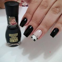 Hello Nails, Black Acrylic Nails, Magic Nails, Kawaii Nails, Nail Polish Art, Spring Nail Art, Minimalist Nails, Pretty Nail Art, Diy Manicure