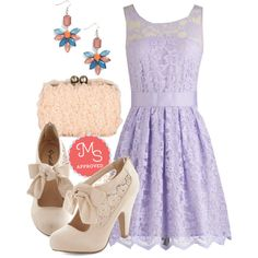 In this outfit: When the Night Comes Dress in Violet, One Shine Day Earrings, Party Perfection Clutch, Behold in High Regard Heel #lace #bridesmaid #pastel #party