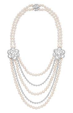 Chanel. Camélia Brodé sautoir in white gold set with diamonds and Akoya pearls.