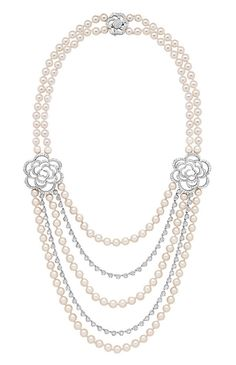 Chanel. Camélia Brodé sautoir in white gold set with diamonds and Akoya pearls.