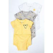 Koala Baby 3-Pack Bodysuits, 3 Months - Yellow
