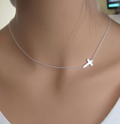 SALE 40 OFF Sideways Cross in Sterling Silver by RoyalGoldGifts