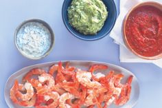 Prawns with three dipping sauces. Yummy Yes I am going to make this