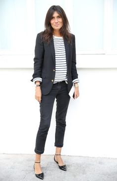 Emmanuelle Alt's perfectly laid back look. Pointy flats. Cuffed Skinnies. Striped tee and blazer.