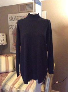 595-TSE-Cashmere-Silk-Black-Mock-Neck-Sweater-Size-Large
