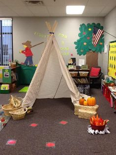 Thanksgiving in preschool. Drilled holes in four strung them… Thanksgiving Songs, Thanksgiving Preschool, Fall Preschool, Kindergarten Crafts, Preschool Centers, Preschool Activities, Camping Dramatic Play, Dramatic Play Area, Dramatic Play Centers