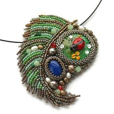 Green necklace. Necklace with ladybug Ladybug necklace by Eniya, $85.00