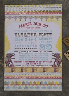Vintage Circus Shower Invite- Memento Designs