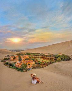 Huacachina, Peru Peru | Travel Destinations | Honeymoon | Backpack | Backpacking | Vacation | Wanderlust | Budget | Off the Beaten Path | South America #travel #honeymoon #vacation #backpacking #budgettravel #offthebeatenpath #bucketlist #wanderlust #Peru #SouthAmerica #explorePeru #visitPeru Machu Picchu, Beautiful Places To Visit, Places To See, Wonderful Places, Resorts, Huacachina Peru, Inka, Desert Oasis, Peru Travel