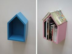 """These wall-mounted book shelves incorporate one of our favorite shapes — the classic """"house"""" shape — into a simple, attractive and useful…"""