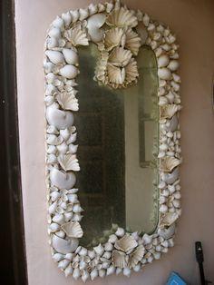DIY Shell Mirror #DIY #Shells #Summer #Beach #Mirror #Seashells #Decorations #Decorate #Decor