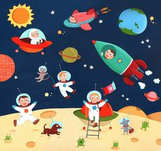 Emilie Chollat: Space and Circus puzzle illustrations by Good Illustration. Writing Pictures, Picture Composition, Space Theme, Children's Book Illustration, Art Festival, Toddler Preschool, Outer Space, Clipart, Wall Murals
