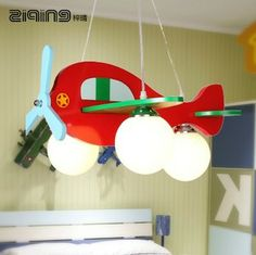 Light Aircraft Wood Pendant Light Cartoon Child Bedroom Lamps Living Room Lights Modern Brief Led Pendant