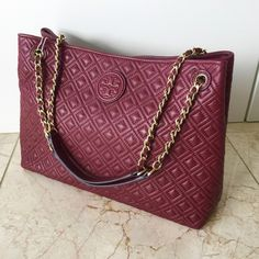 Tory Burch Marion Quilted Slouchy Shoulder Tote Authentic. Brand new with tag and dust bag. Color Red Agate. No trade. Tory Burch Bags Totes