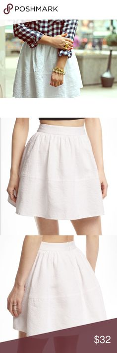Express White Jacquard Skirt Skater skirt style with detail on it. Absolutely beautiful! NWT in mint condition. Express Skirts