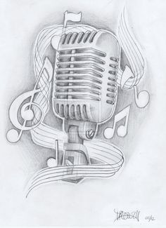 Music Note Tattoo Drawing Designs | mic with notes by akadrowzy