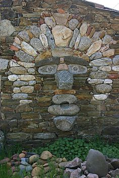 A stone face..