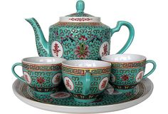 Vintage Chinese Porcelain Tea Set, Svc. for 3 from One Kings Lane