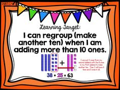 add and regroup, two-digit addition with regrouping, first 1st grade ready math unit 5 lesson 25, learning target poster