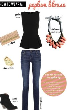 peplum- cute outfit. I have a great turquoise necklace that I could use. Or even a gold chain for a simpler look