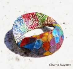 Polymer clay bracelet bangle. Collection Ifinity Arlequín by Chama Navarro