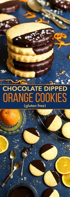 Gluten Free Chocolate Dipped Orange Cookies - Crumbly, buttery cookies bursting with orange flavour, dipped into dark chocolate and sprinkled with sea salt. Made with both the orange zest and the juice of a freshly squeezed orange, these orange cookies are the real deal. Gluten free cookies. Gluten free dessert recipe. Easy cookie recipe. Easy dessert recipe. Orange dessert. Citrus recipes. #cookies #chocolate #glutenfree #dessert #recipe
