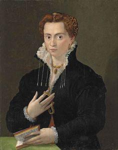 Portrait d'une dame dans une robe noire à col haut, tenant un livre, vers 1566 école florentine