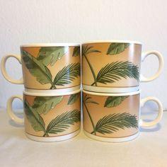 Palm Tree Mug Set American Atelier Stone Ware West Indies Tropical Florida Style Coffee Mugs Vintage Palm Leaf Stoneware Mugs by TheLastFlamingo on Etsy https://www.etsy.com/listing/557036408/palm-tree-mug-set-american-atelier-stone