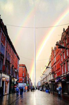 The spire, #rainbow in #Dublin #Ireland