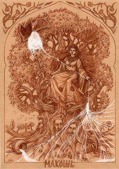 The Slavic Goddess Mokosh Spinning.
