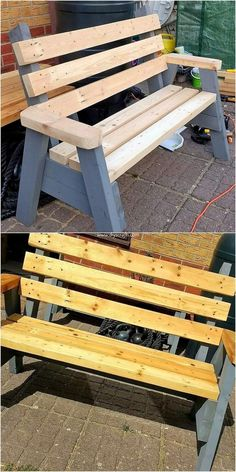 Amazing DIY Pallet Ideas for Your Home Beauty Bring home this antique style of the wood pallet bench Pallet Crafts, Diy Pallet Projects, Pallet Ideas, Diy Crafts, Wooden Projects, Wood Ideas, Diy Pallet Sofa, Pallet Furniture, Pallet Benches