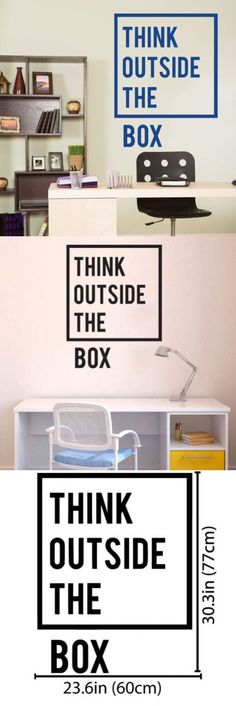 Removable Inspirational Quotes Office Wall Decal Think outside the box Wall Sticker Home Decoration Mural Quotes A-86 $11.96