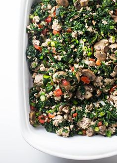 This Whole30 breakfast bake with sausage, eggs, spinach, and mushrooms is flavorful enough to live off of during a Whole30. You'll love this Whole30 breakfast because it's packed with flavor, protein, and fiber, making you feel a-freaking-mazing all day. This might just become your new favorite paleo breakfast bake!
