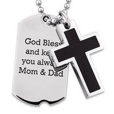 Personalized Cross and Dog Tag Pendant in Two-Tone Stainless Steel (4 Lines)