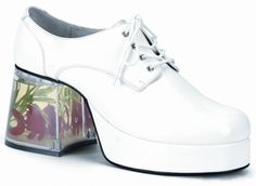 """Bílé """"disco"""" boty na platformě a podpatku s rybičkami"""