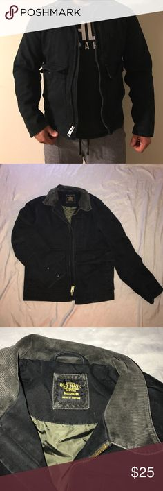 Men's Heavy Denim Jacket Black Denim. Size Medium. Very durable material. Great shape with no cuts or tears. Old Navy Jackets & Coats